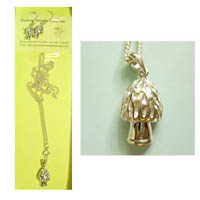 Silver Morel pendant and earing set
